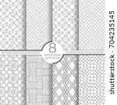set of vector seamless pattern. ... | Shutterstock .eps vector #704235145