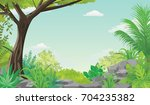 green forest view with vast... | Shutterstock .eps vector #704235382
