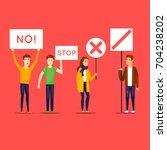 strike  protest  riot  rally.... | Shutterstock .eps vector #704238202