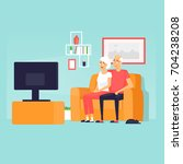 pensioners are sitting on the... | Shutterstock .eps vector #704238208