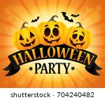 halloween party sign topic... | Shutterstock .eps vector #704240482