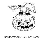 vector   halloween pumpkin with ... | Shutterstock .eps vector #704240692