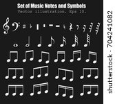 set of many various notes and... | Shutterstock .eps vector #704241082