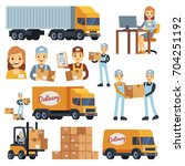 warehouse workers cartoon... | Shutterstock .eps vector #704251192