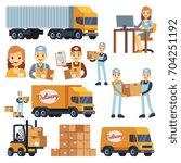warehouse workers cartoon... | Shutterstock .eps vector #704251192