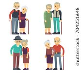 smiling and happy old couples.... | Shutterstock .eps vector #704251648