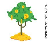 money tree with gold coins and... | Shutterstock .eps vector #704268376