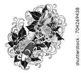 koi fish and chrysanthemum... | Shutterstock .eps vector #704269438