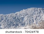 Snow-Covered Forested Mountain with Vivid Blue Sky - stock photo