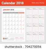 calendar template for 2018 year.... | Shutterstock .eps vector #704270056