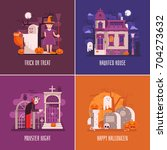 halloween backgrounds with old... | Shutterstock .eps vector #704273632