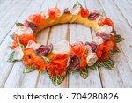 orange handmade flower circle... | Shutterstock . vector #704280826
