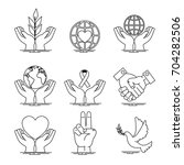 peace and love icon set design | Shutterstock .eps vector #704282506