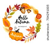 autumn round background with... | Shutterstock .eps vector #704291005