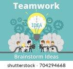 businessman teamwork charging... | Shutterstock .eps vector #704294668