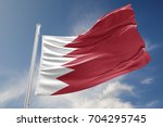 bahrain flag is waving at a... | Shutterstock . vector #704295745