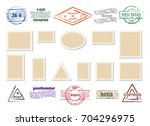 blank postage stamp frames and... | Shutterstock .eps vector #704296975