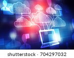 2d rendering cloud computing ... | Shutterstock . vector #704297032