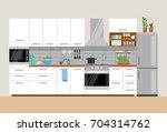 modern cozy kitchen interior ...   Shutterstock .eps vector #704314762