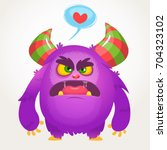 cartoon violet angry monster in ...