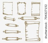 vector set of the old scrolls... | Shutterstock .eps vector #704327152