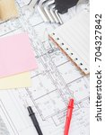 different construction tools on ... | Shutterstock . vector #704327842