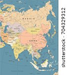asia map   vintage detailed... | Shutterstock .eps vector #704329312