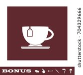 tea icon flat. simple white...