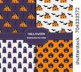 collection of 4 halloween... | Shutterstock .eps vector #704333572