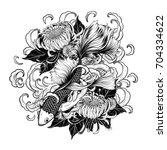 koi fish and chrysanthemum... | Shutterstock .eps vector #704334622
