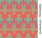 floral paisley seamless pattern.... | Shutterstock .eps vector #704336002