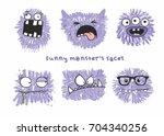 set of six vector funny crazy... | Shutterstock .eps vector #704340256