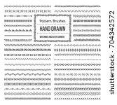 set of vector pattern brushes... | Shutterstock .eps vector #704342572