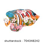 exotic fish  tropical fish  in... | Shutterstock . vector #704348242
