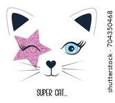 Super Cat Print Design With...