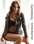 Small photo of Fashion lingerie. Model woman. Lingerie model. Blonde model