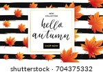 autumn sale flyer template with ... | Shutterstock .eps vector #704375332