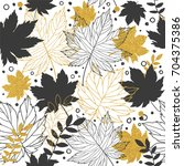 gold autumn leaves seamless... | Shutterstock .eps vector #704375386