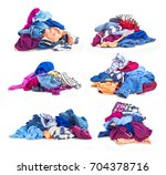 set of heaps of clothes. on a... | Shutterstock . vector #704378716