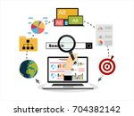 flat illustration web analytics ... | Shutterstock .eps vector #704382142