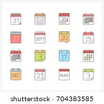 set of 16 colored calendar line ... | Shutterstock .eps vector #704383585
