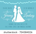 wedding invitation with... | Shutterstock .eps vector #704384026