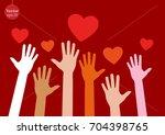 hands raising love with heart | Shutterstock .eps vector #704398765