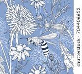 vintage style vector floral... | Shutterstock .eps vector #704406652