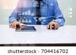 medicine doctor in blue shirt...   Shutterstock . vector #704416702