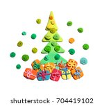 christmas tree from plasticine... | Shutterstock . vector #704419102
