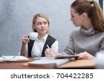 frustrated business people... | Shutterstock . vector #704422285