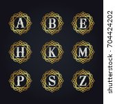 luxury golden letters vector... | Shutterstock .eps vector #704424202