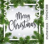 merry christmas inscription... | Shutterstock .eps vector #704424388