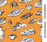 turkish cuisine seamless... | Shutterstock .eps vector #704426002